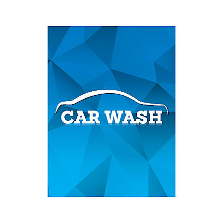 Plastic Sign, Car Wash Blue, Vertical