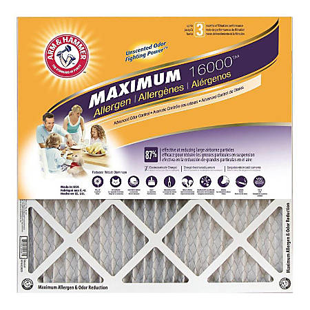 """Arm & Hammer Maximum Allergen & Odor Reduction Air Filters, 25""""H x 16""""W x 1""""D, Pack Of 4 Air Filters"""