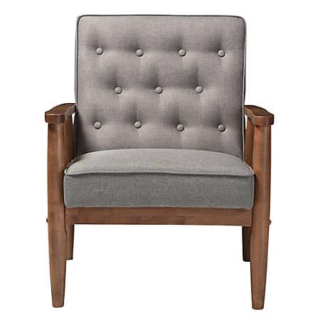 Pleasing Baxton Studio Noel Fabric Lounge Chair Gray Dark Walnut Item 5762930 Machost Co Dining Chair Design Ideas Machostcouk
