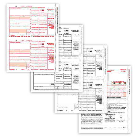 """ComplyRight 1099-DIV Tax Forms, 4-Part, 8-1/2"""" x 11"""", Pack of 10 Forms"""