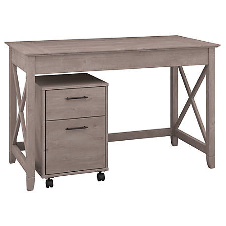 """Bush Furniture Key West 48""""W Writing Desk With 2 Drawer Mobile File Cabinet, Washed Gray, Standard Delivery"""
