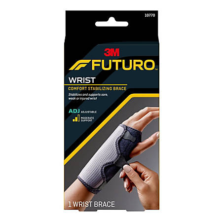 "FUTURO?¢ Reversible Splint Wrist Brace - Adjustable, Comfortable, Hook & Loop Closure, Breathable, Latex-free, Reversible - 5.5"" - Black"