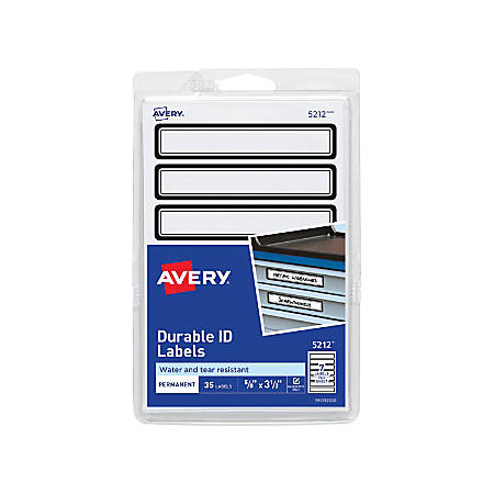 """Avery® Durable ID Labels, 5212, 5/8"""" x 3 1/2"""", Black, Pack Of 35"""