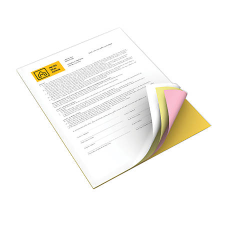 Xerox® Revolution™ Premium Digital Carbonless Paper, 4-Part Straight, Letter Size, White/Canary/Pink/Goldenrod, Box Of 1,250 Sets