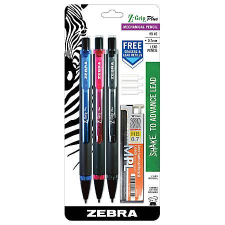 Zebra® Z-Grip™ Plus Mechanical Pencils, 0.7 mm, #2 Medium Lead, Assorted Barrel Colors, Pack Of 3