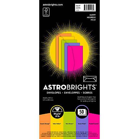 "Astrobrights® Color Envelopes, #10, 4 1/8"" x 9 1/2"", 24 LB, Happy 5-Color Assortment, Pack Of 50"