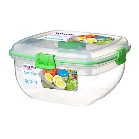 Sistema® Salad Max To Go™ Food Storage Container, 1.3 Liter, Assorted Colors