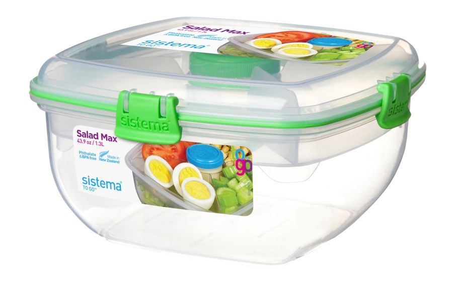 Sistema Salad Max To Go Food Storage Container 13 Liter Assorted