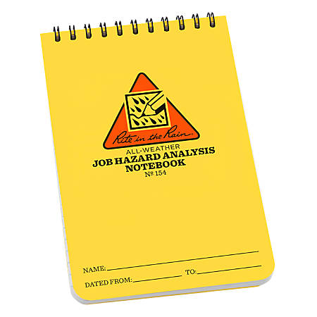"""Rite in the Rain All-Weather Spiral Notebooks, Job Hazard Analysis, 4"""" x 6"""", 100 Pages (50 Sheets), Yellow, Pack Of 12 Notebooks"""