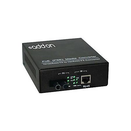 AddOn 10/100Base-TX(RJ-45) to 100Base-BXU(ST) BiDi SMF 1310nm/1550nm 20km POE Media Converter