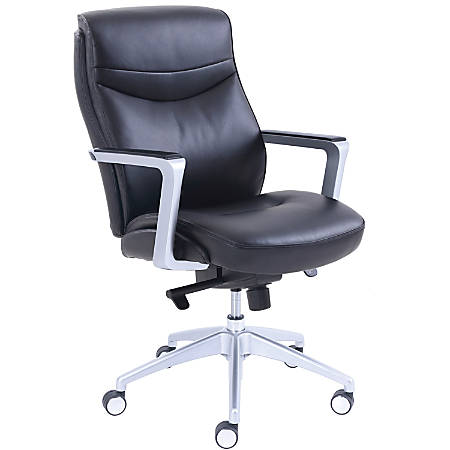 "La-Z-Boy Leather Manager Chair - Black Bonded Leather Seat - Black Bonded Leather Back - 5-star Base - 29"" Length x 27.3"" Width - 43"" Height - 1 Each"