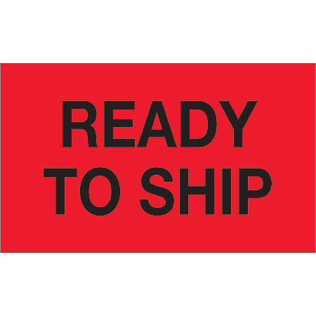 """Tape Logic® Preprinted Special Handling Labels, DL1172, Ready To Ship, Rectangle, 3"""" x 5"""", Fluorescent Red, Roll Of 500"""