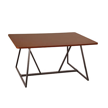 Safco® Oasis Sit-Height Teaming Table, Rectangular, Cherry/Black