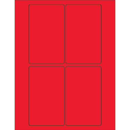 """Office Depot® Brand Labels, LL175RD, Rectangle, 3"""" x 5"""", Fluorescent Red, Case Of 400"""