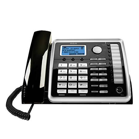 RCA 25260 2-Line Corded Expandable Speakerphone, Black/Silver
