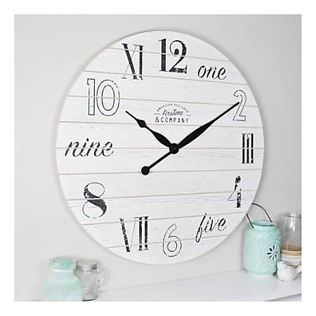 Shiplap Chic Wall Clock Aged White