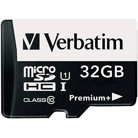 Verbatim 32GB PremiumPlus 533X microSDHC Memory Card with Adapter, UHS-I Class 10