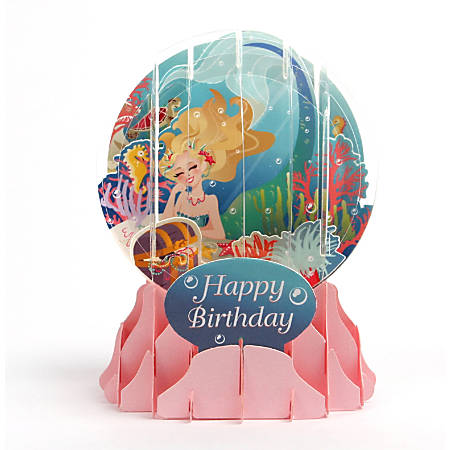 "Up With Paper Everyday Pop-Up Greeting Card, Snow Globe, 5"" x 3-3/4"", Mermaid"