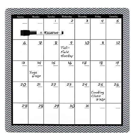 "Quartet® Home Organization Magnetic Monthly Dry-Erase Board Calendar, Frameless, Fiberboard, 14"" x 14"", Black/White"