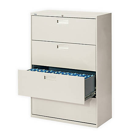 """HON® Brigade 600 Series Lateral File, 4 Drawers, 53-1/4""""H x 42""""W x 19-1/4""""D, Light Gray"""