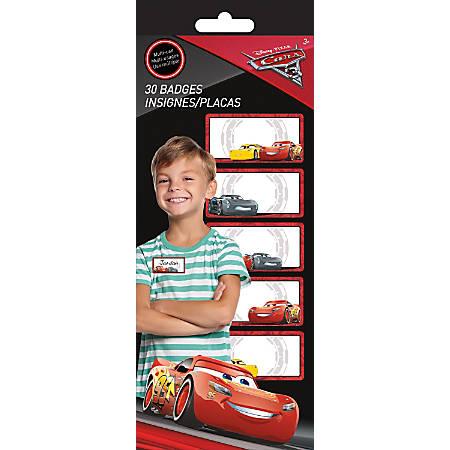 """Sandylion Peel & Stick Name Badges, 1 3/4"""" x 3 1/2"""", Disney Cars 3, Pack Of 30"""