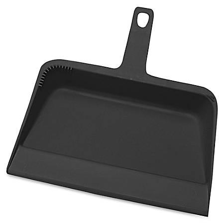 "Genuine Joe Heavy-duty Plastic Dust Pan - 12"" Wide - Plastic - Black"