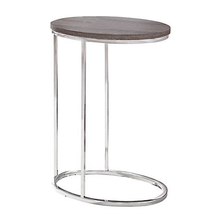 "Monarch Specialties Xavier Accent Table, 25""H x 12""W x 18-1/2""D, Dark Taupe/Chrome"