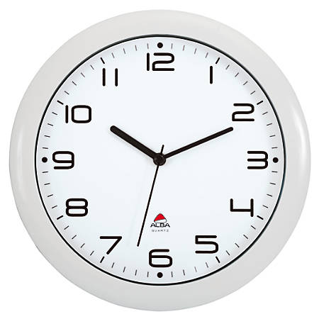 "Alba Silent Round Wall Clock, 12"" Diameter, White"