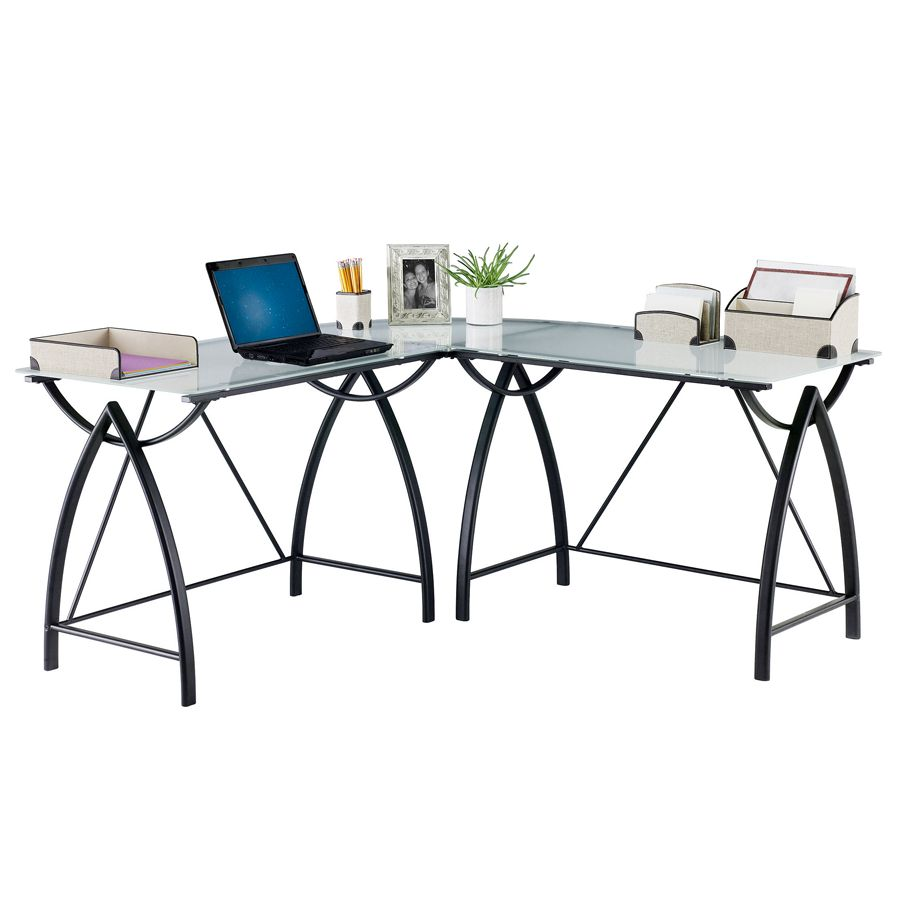 Realspace Alluna Collection Glass L Shape Desk Black FrameFrosted