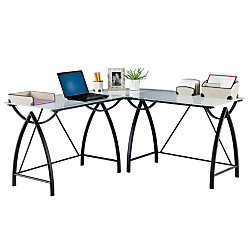 Reale Alluna Collection Gl L Shape Desk Black Frame Frosted
