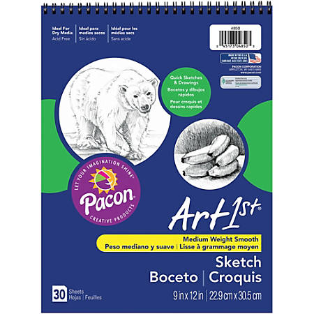 "Pacon® Medium-Weight Sketch Book, 9"" x 12"", 30 Sheets"