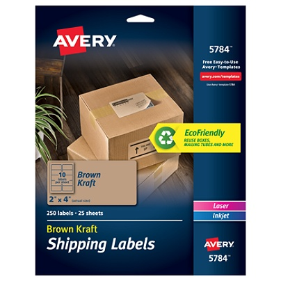 avery permanent shipping labels 5784 2 x 4 100percent recycled fsc