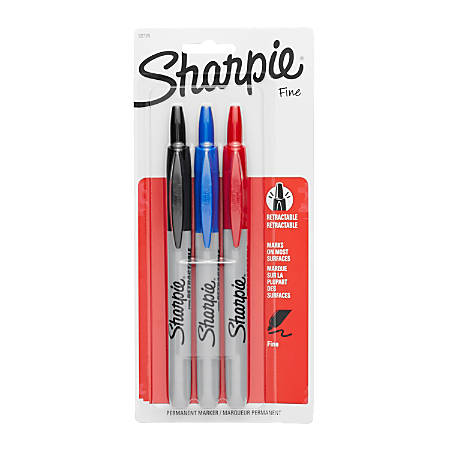 Sharpie® Retractable Permanent Markers, Fine Point, Assorted Colors, Pack Of 3 Markers