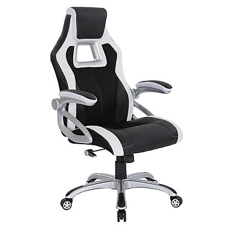 OSP Designs Race Bonded Leather High-Back Chair, Black/Silver