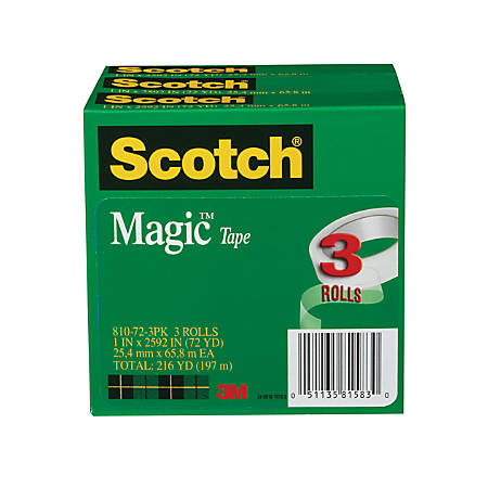 """Scotch® Magic™ 810 Invisible Tape, 1"""" x 2,592"""", Clear, Pack Of 3 Rolls"""