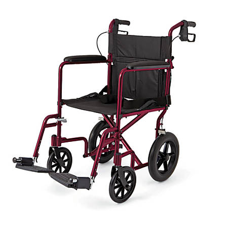 "Medline Aluminum Transport Chair, 12"" Wheels, Red"