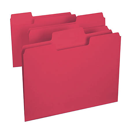 Smead® SuperTab® File Folders, Letter Size, 1/3 Cut, Red, Box Of 100