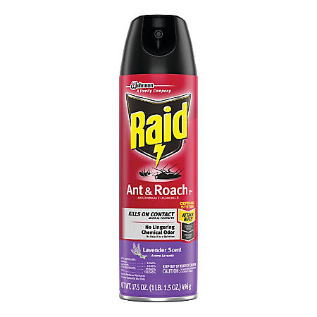 Raid Ant & Roach Killer, 17.5 Oz, Lavender Scent, Case Of 12 Canisters