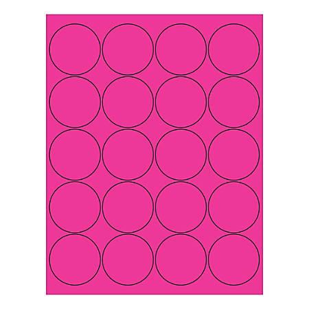 "Office Depot® Brand Circle Inkjet/Laser Labels, LL197PK, 2"", Fluorescent Pink, Pack Of 2,000 Labels"