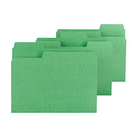 Smead® SuperTab® File Folders, Letter Size, 1/3 Cut, Green, Box Of 100