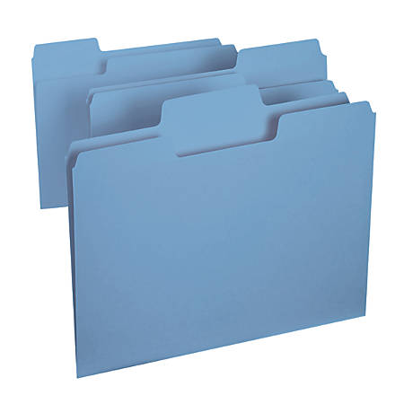 Smead® SuperTab® File Folders, Letter Size, 1/3 Cut, Blue, Box Of 100