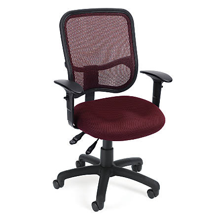 OFM Mesh Comfort Series Fabric Mid-Back Task Chair With Arms, Wine/Black