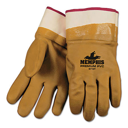 Foam Lined Gloves, PVC, Safety, Orange/Sandy, Large