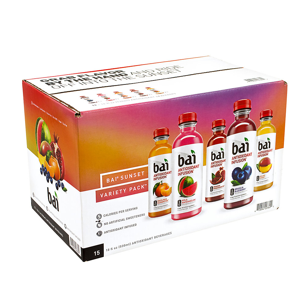 Bai Water Sunset Variety Pack, 18 Fl Oz, Pack Of 15
