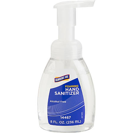 Genuine Joe Alcohol-free Foam Hand Sanitizer - Fresh Scent - 8 fl oz (236.6 mL) - Kill Germs, Bacteria Remover - Hand - Clear - Alcohol-free, Hygienic, Moisturizing, Fast Acting - 24 / Carton