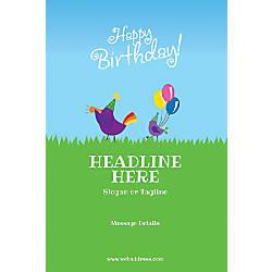 Adhesive Sign Birthday Birds Vertical