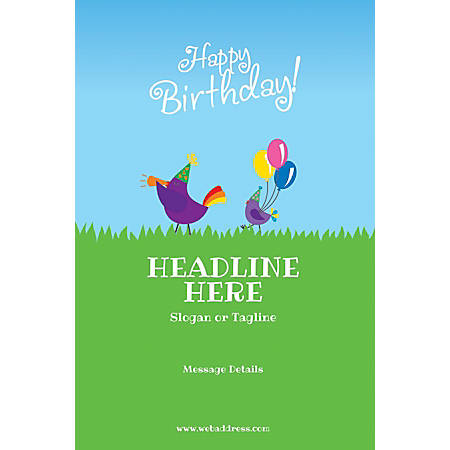 Adhesive Sign, Birthday Birds, Vertical