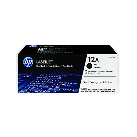 HP 12A, Black Original Toner Cartridges (Q2612D), Pack Of 2