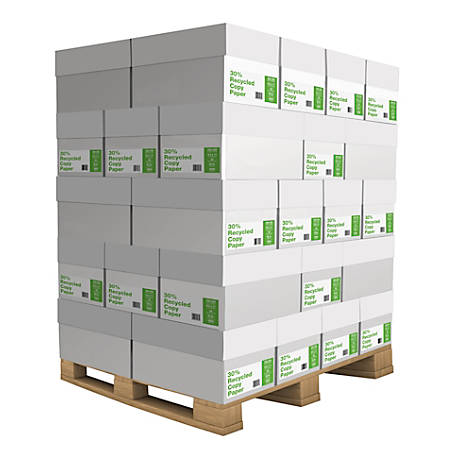 Copy Paper, Letter Size Paper, 20 Lb, 30% Recycled, 500 Sheets Per Ream, Case Of 10 Reams, Pallet Of 40 Cases