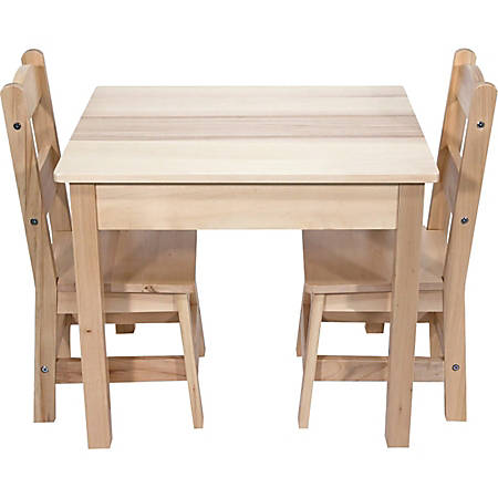 "Melissa & Doug Wooden Table With Chairs, 20""H x 23 1/2""W x 20 1/2""D, Natural, Pre-K - Grade 2"